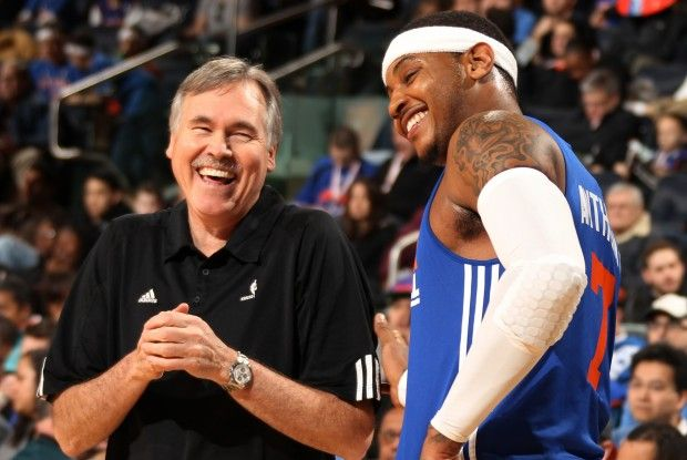 Mike D'Antoni y Carmelo Anthony./ Getty Images