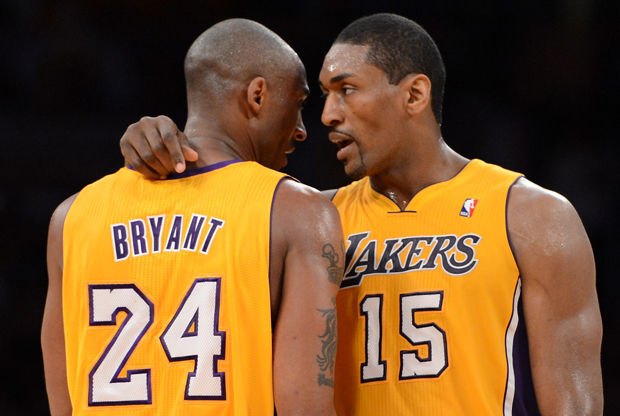 Metta World Peace y Kobe Bryant./ Getty Images