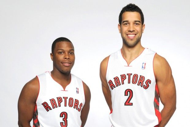 Kyle Lowry y Landry Fields./ Getty Images