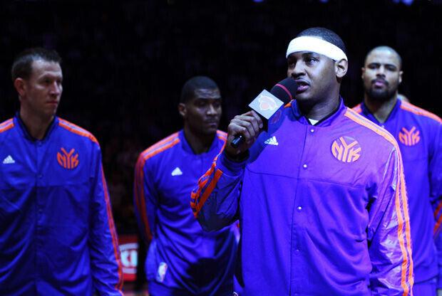 Carmelo Anthony en el discurso por Sandy./ Getty Images
