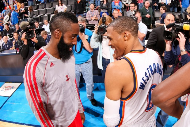 James Harden y Russell Westbrook./ Getty Images