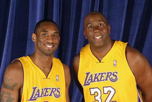 Magic Johnson y Kobe Bryant./ Getty Images