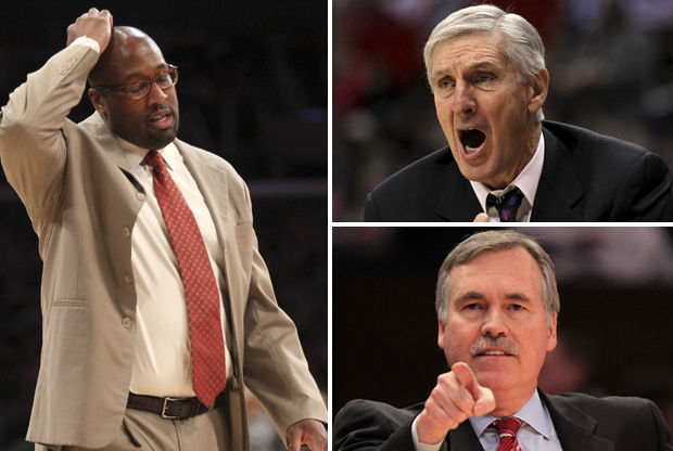 Mike Brown, Jerry Sloan y Mike D'Antoni./ Getty Images