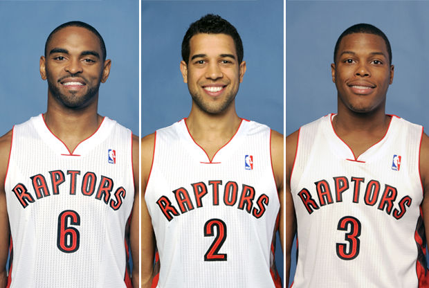 Alan Anderson, Landry Fields y Kyle Lowry./ Getty Images