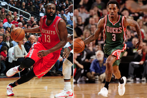 James Harden y Brandon Jennings./ Getty Images