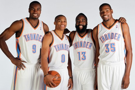 Serge Ibaka, Russell Westbrook, Kevin Durant y James Harden./ Getty Images