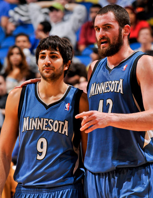 Ricky Rubio y Kevin Love ./ Getty Images