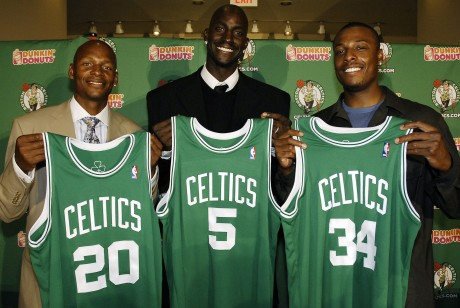 Ray Allen, Kevin Garnett y Paul Pierce./ Getty Images