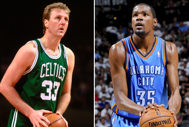 Larry Bird y Kevin Durant./ Getty Images