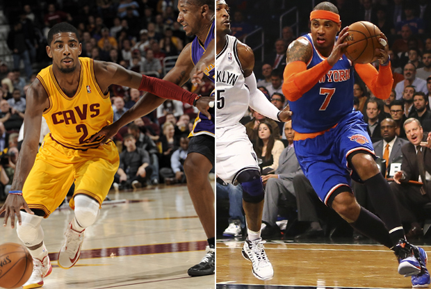 Kyrie Irving y Carmelo Anthony./ Getty Images