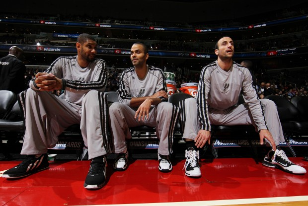 Tim Duncan, tony Parker y Manu Ginobili./ Getty IMages