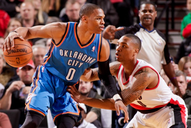 Russell Westbrook y Damian Lillard./ Getty Images