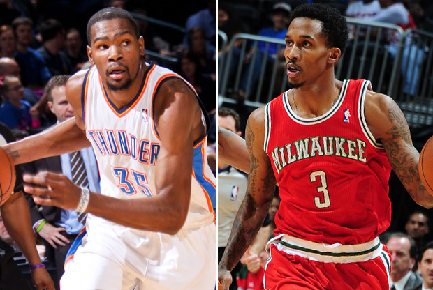 Kevin Durant y Brandon Jennings./ Getty Images