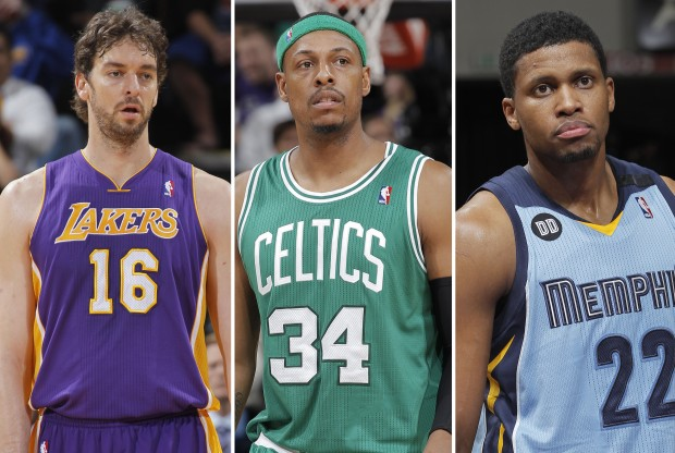 Pau Gasol, Paul Pierce y Rudy Gay./ Getty Images