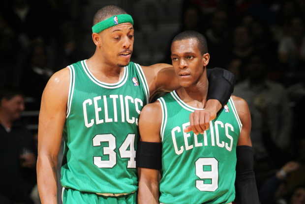 Paul Pierce y Rajon Rondo./ Getty Images