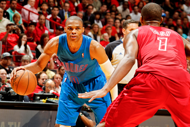 Russell Westbrook y Chris Bosh./ Getty Images