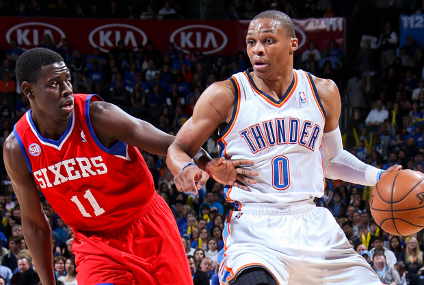 Russell Westbrook y Jrue Holiday./ Getty Images