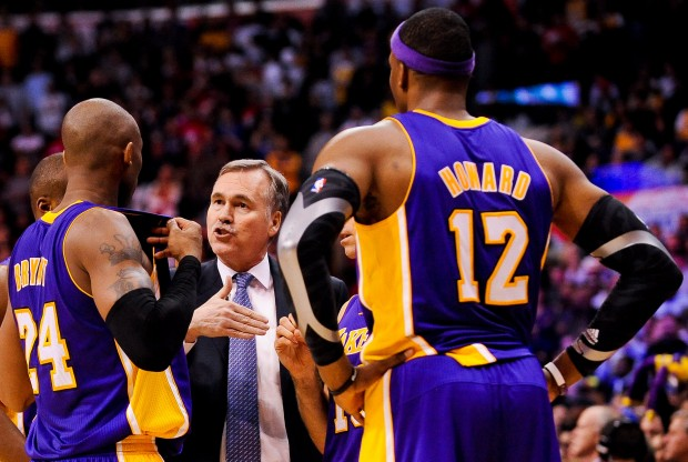 Kobe Bryant, Mike D'Antoni y Dwight Howard./ Getty Images