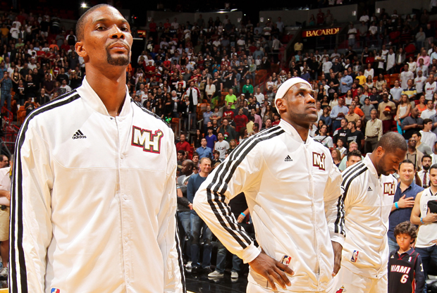 Dwyane Wade, LeBron James y Chris Bosh./ Getty Images