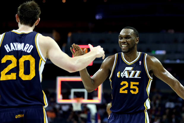Al Jefferson y Gordon Hayward./ Getty Images