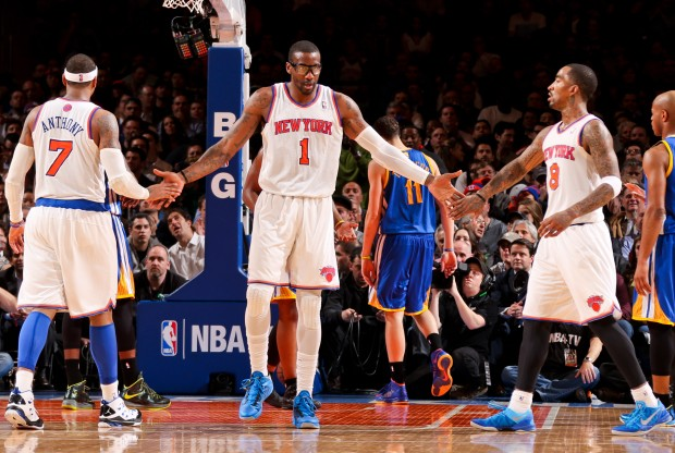 Carmelo Anthony, Amar'e Stoudemire y J.R. Smith./ Getty Images