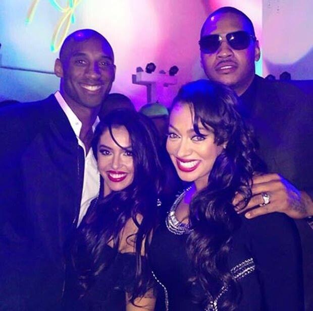 Kobe Bryant, Natalia, Lala y Carmelo Anthony