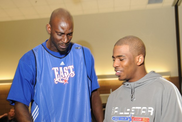 Kevin Garnett y Chris Paul./ Getty Images