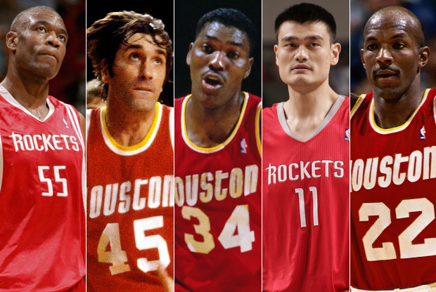 Dikembe Mutombo, Rudy Tomjanovich, Hakeem Olajuwon, Yao Ming y Clyde Drexler./ Getty Images