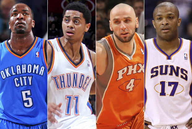 Kendrick Perkins, Jeremy Lamb, Marcin Gortat y PJ Tucker Getty./ Images