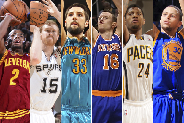 Kyrie Irving, Matt Boner, Ryand Anderson, Steve Novak, Paul Goerge, Stephen Curry./ Getty Images