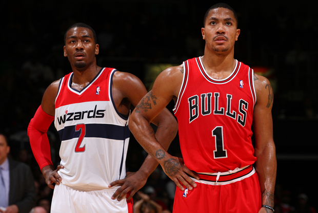 John Wall y Derrick Rose./ Getty Images