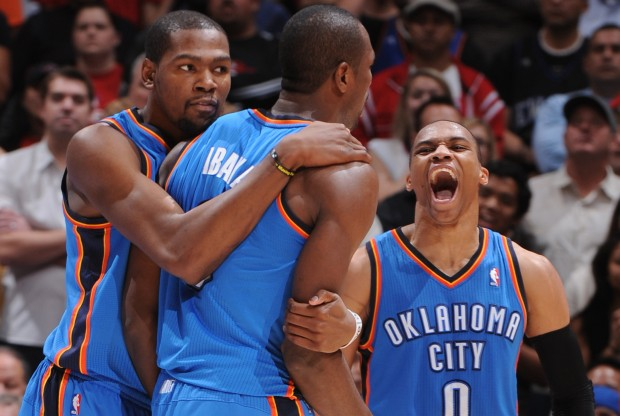 Kevin Durant, Serge Ibaka y Russell Westbrook./ Getty Images
