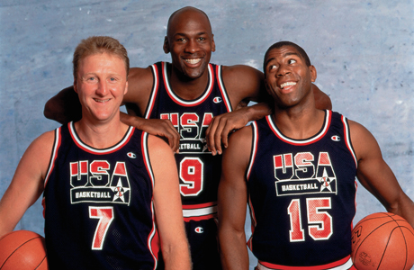 Larry Bird #7, Michael Jordan #9 y Magic Johnson #15./ Getty Images