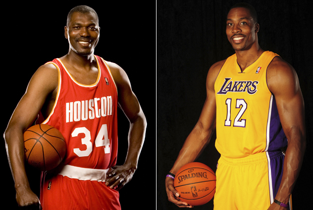 Hakeem Olajuwon y Dwight Howard./ Getty Images