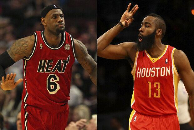 LeBron James y James Harden./ Getty Images