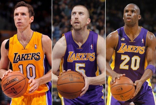 Steve Nash, Steve Blake, Jodie Meeks./ Getty Images