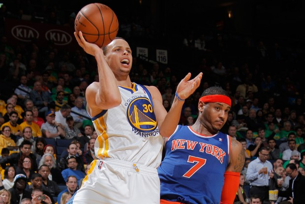 Stephen Curry y Carmelo Anthony./ Getty Images