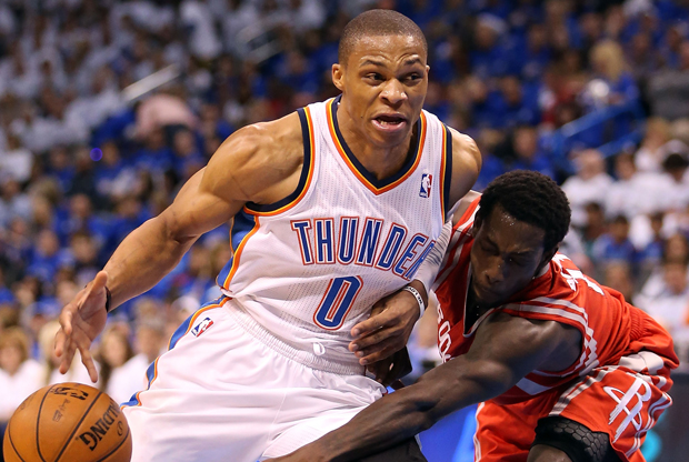 Russell Westbrook y Patrick Beverley./ Getty Images