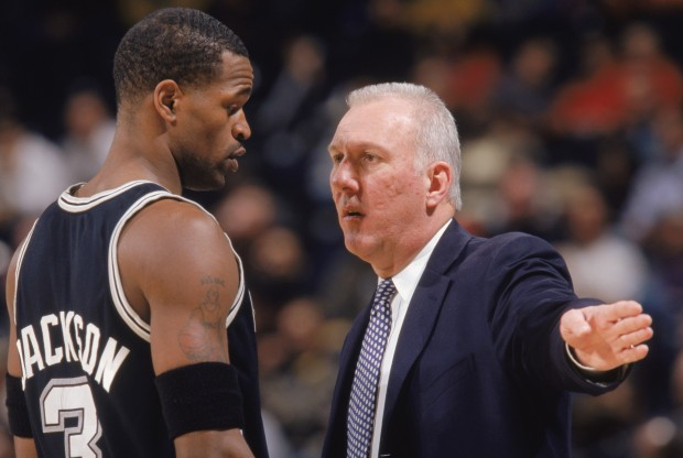 Stephen Jackson y Gregg Popovich./ Getty Images