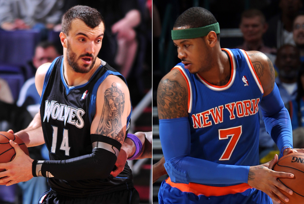 Nikola Pekovic y Carmelo Anthony./ Getty Images