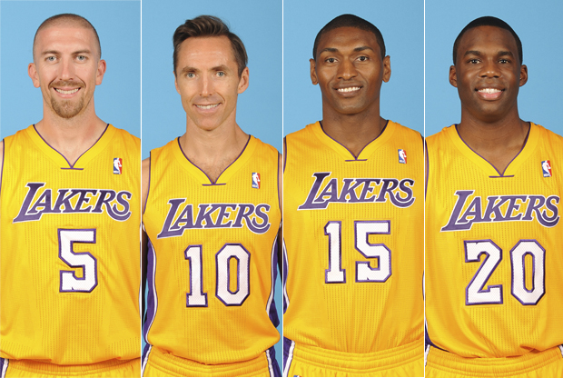 Steve Blake, Steve Nash, Metta World Peace y Jodie Meeks./ Getty Images