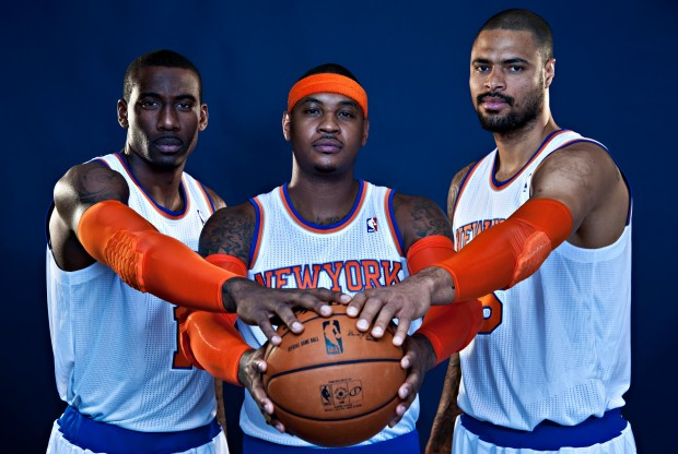 Amar'e Stoudemire, Carmelo Anthony y Tyson Chandler./ Getty Images