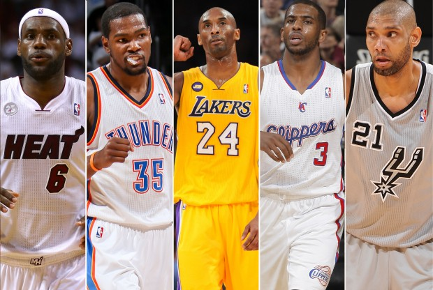 LeBron James, Kevin Durant, Kobe Bryant, Chris Paul, Tim Duncan./ Getty Images