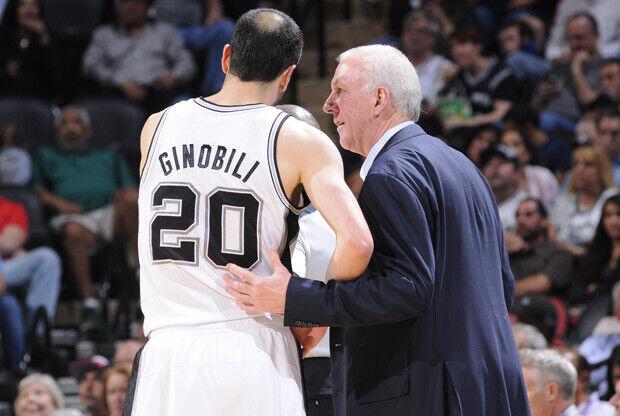 Manu Ginóbili y Gregg Popovich./ Getty Images
