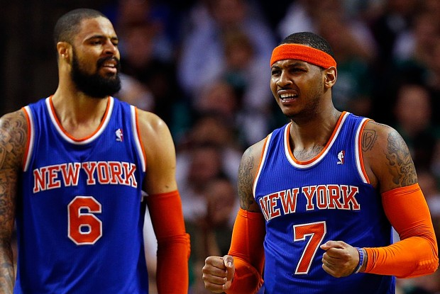 Tyson Chandler y Carmelo Anthony./ Getty Images