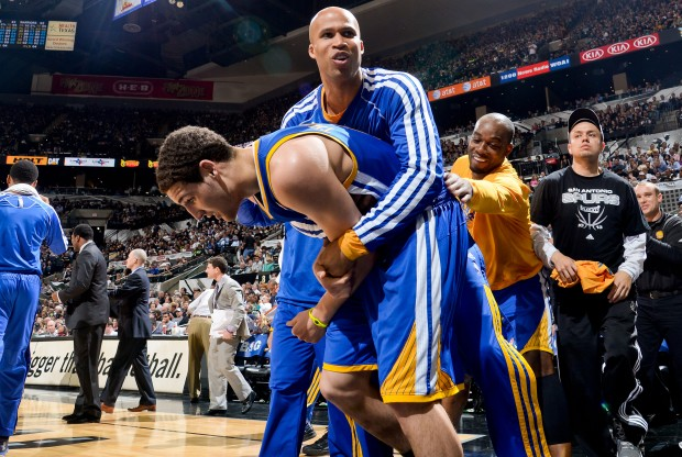 Richard Jefferson celebra la victoria junto a Klay Thompson./ Getty Images