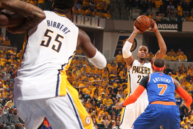 David West, Carmelo Anthony y Roy Hibbert./ Getty Images