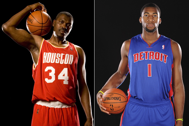 Hakeem Olajuwon y Andre Drummond./ Getty Images
