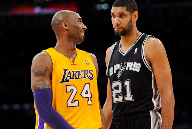 Kobe Bryant y Tim Duncan./ Getty Images