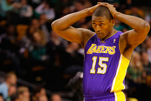 Metta World Peace vistiendo el uniforme de Los Angeles Lakers.